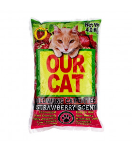 Our Cat Clumping Cat Litter Strawberry Scent 4kg