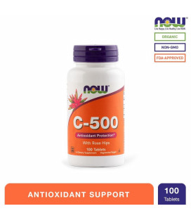 NOW Foods C-500 with Rose Hips Tablets Bottle of 100