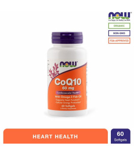 NOW Foods CoQ10 60mg Softgels Bottle of 60