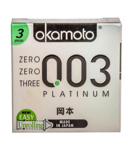 Okamoto 0.03mm super thinnest Platinum condom with better sex intimacy love sensitive feeling (1 Box)
