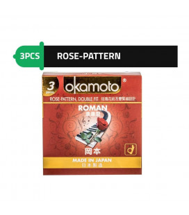 Okamoto Roman - Rose Pattern Double-Fit Japan Condoms with Better Sex Intimacy Love Sensitive Feeling (1 Box)