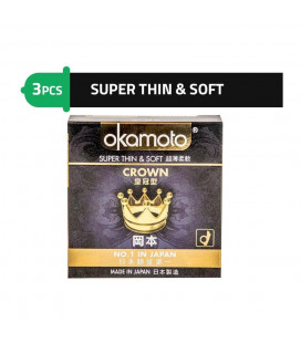 Okamoto Crown - Super Soft and Thinnest Japan Condoms with Better Sex Intimacy Love Sensitive Feeling (1 Box)