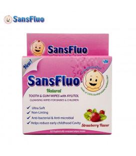 SansFluo Natural Tooth & Gum Wipes 12 Sachets Pink Anti-Bacterial & Anti-Microbial Tooth & Gum Wipes With Xylitol