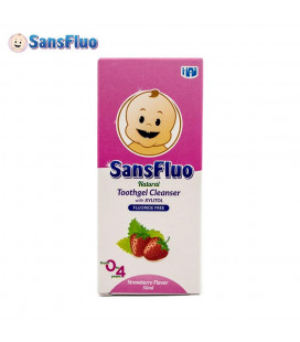 SansFluo Tooth Gel Cleanser Strawberry Pink Natural Toothgel Cleanser With Xylitol 50Ml
