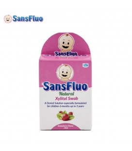 SansFluo Natural Xylitol Swab 10 Ml Pink For Children 6 Months Up To 3 Years 10Ml