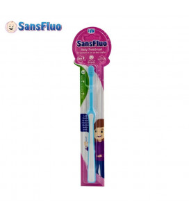 SansFluo Baby Toothbrush Pen Grip Blue Pink Bpa Free With Soft Bristles