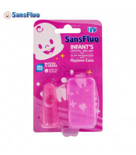 SansFluo Infant Dental Brush w/ Hygiene Case Pink