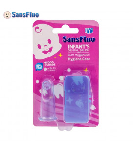SansFluo Infant Dental Brush w/ Hygiene Case Blue