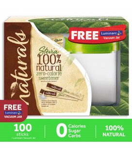 Naturals Stevia Zero Calorie Sweetener 100 Sticks With Free Luminarc Vacuum Jar