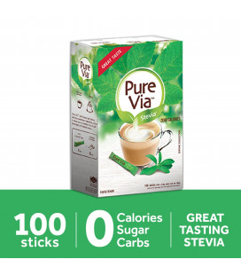 Pure Via Stevia Zero Calorie Sweetener 100 Sticks