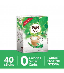 Pure Via Stevia Zero Calorie Sweetener 40 Sticks